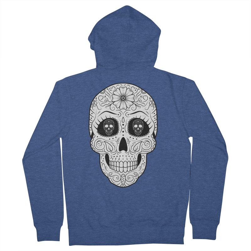 Scull with Scull Eyes Men's Zip-Up Hoody by Indigoave Artist Shop