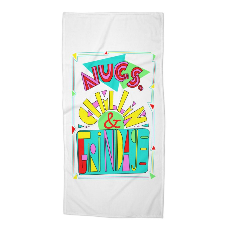 nugs, chillin and grindage Accessories Beach Towel by shortandsharp's Artist Shop