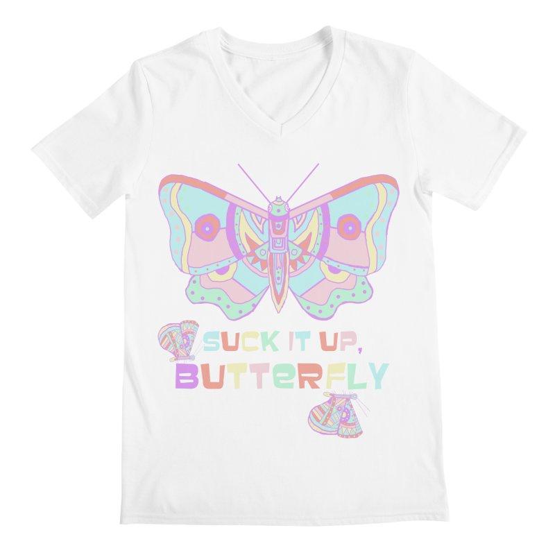 suck it up, butterfly Men's V-Neck by shortandsharp's Artist Shop