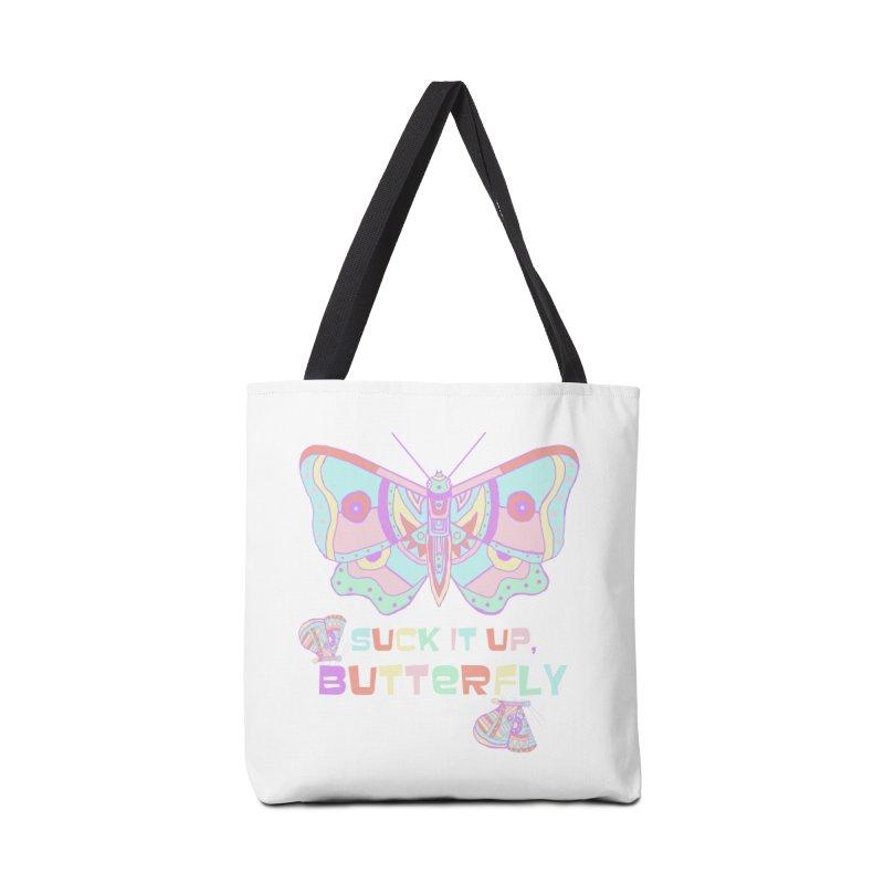 suck it up, butterfly Accessories Bag by shortandsharp's Artist Shop
