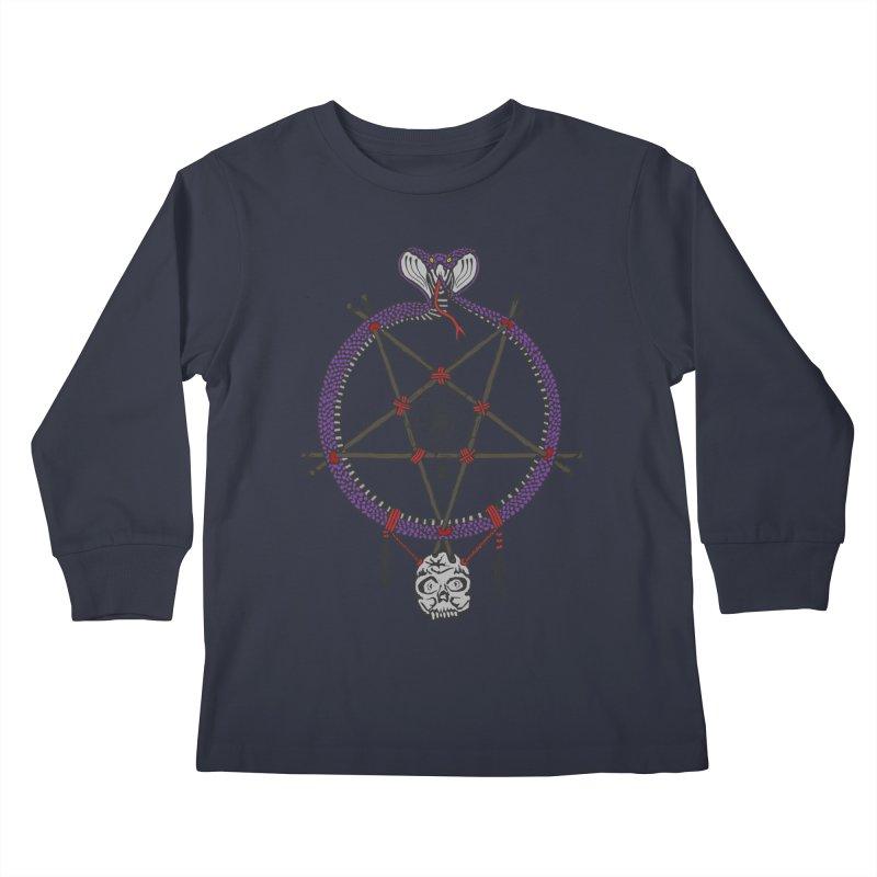 Dark dreamcatcher pentagram Kids Longsleeve T-Shirt by shpyart's Artist Shop