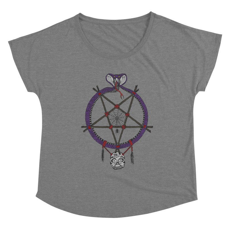 Dark dreamcatcher pentagram Women's Scoop Neck by shpyart's Artist Shop