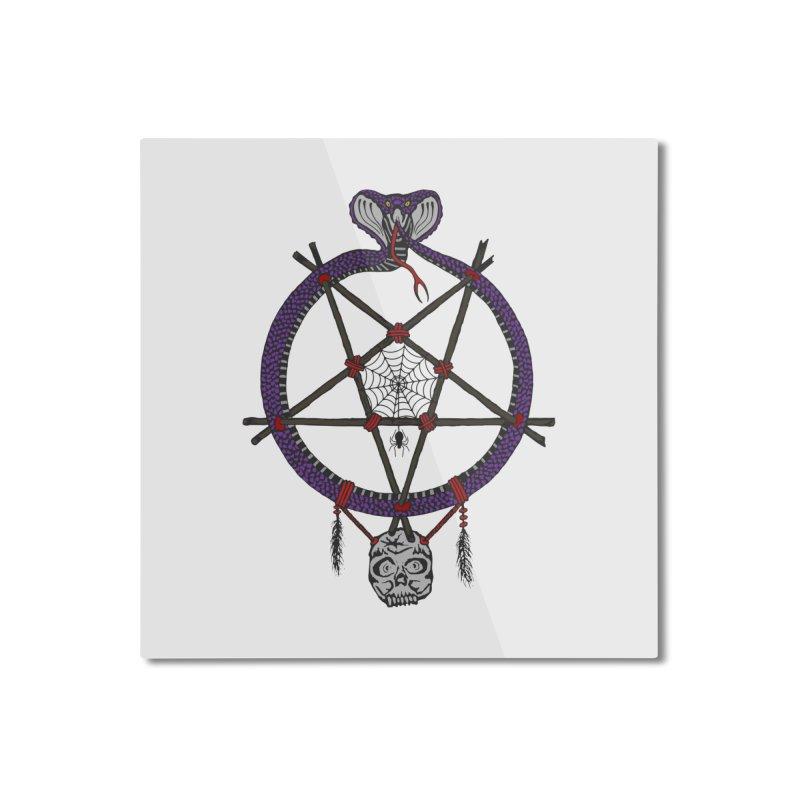 Dark dreamcatcher pentagram Home Mounted Aluminum Print by shpyart's Artist Shop