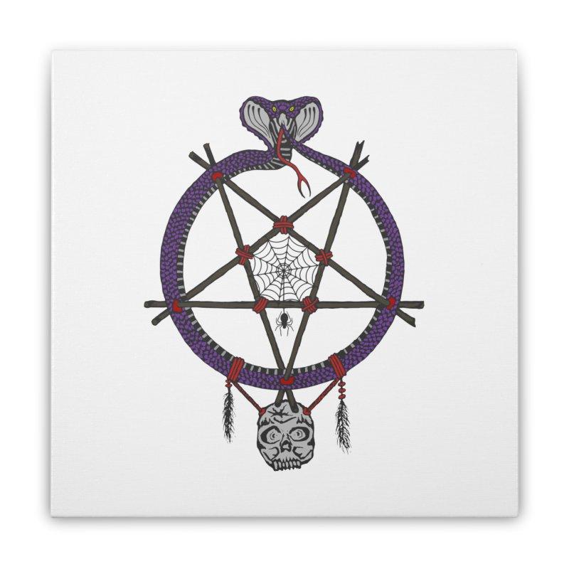 Dark dreamcatcher pentagram Home Stretched Canvas by shpyart's Artist Shop