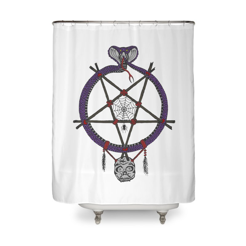 Dark dreamcatcher pentagram Home Shower Curtain by shpyart's Artist Shop