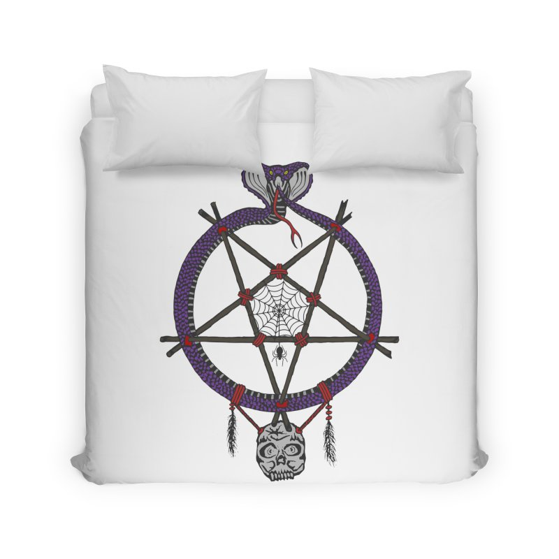 Dark dreamcatcher pentagram Home Duvet by shpyart's Artist Shop
