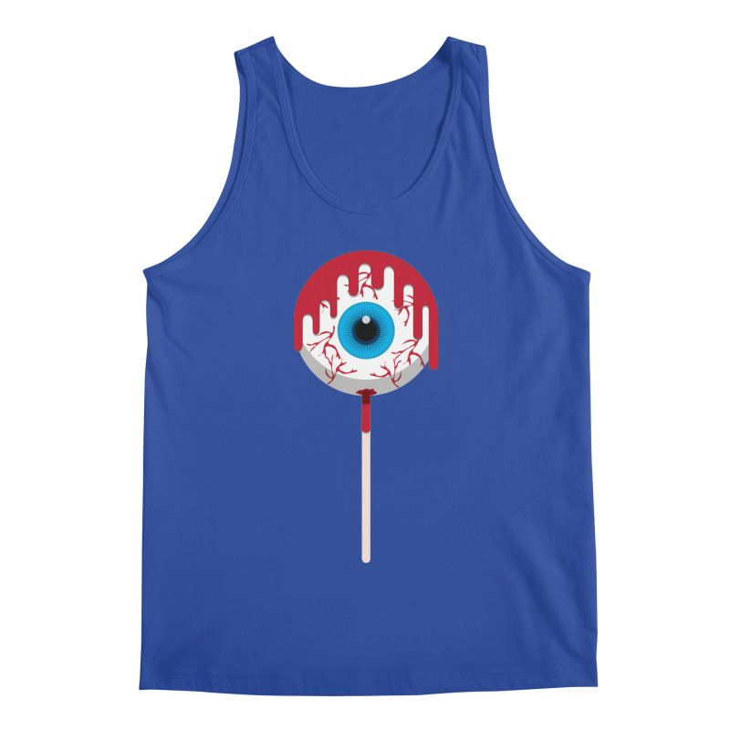 Halloween Eye Candy - Scary, Bloody Creepy Eyeball Lollipop Men's Tank by Sidewise Clothing & Design