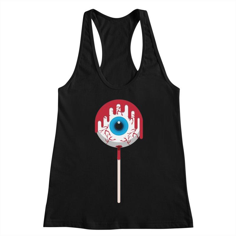 Halloween Eye Candy - Scary, Bloody Creepy Eyeball Lollipop Women's Racerback Tank by Sidewise Clothing & Design