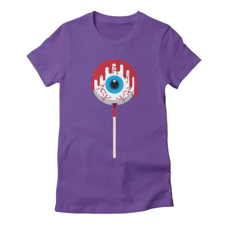 Halloween Eye Candy - Scary, Bloody Creepy Eyeball Lollipop Women's Fitted T-Shirt by Sidewise Clothing & Design