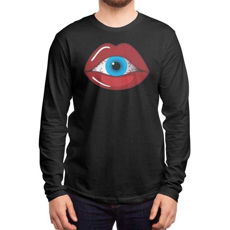 Creepy, Scary Eyeball inside Woman Lips Halloween Horror Men's Longsleeve T-Shirt by Sidewise Clothing & Design