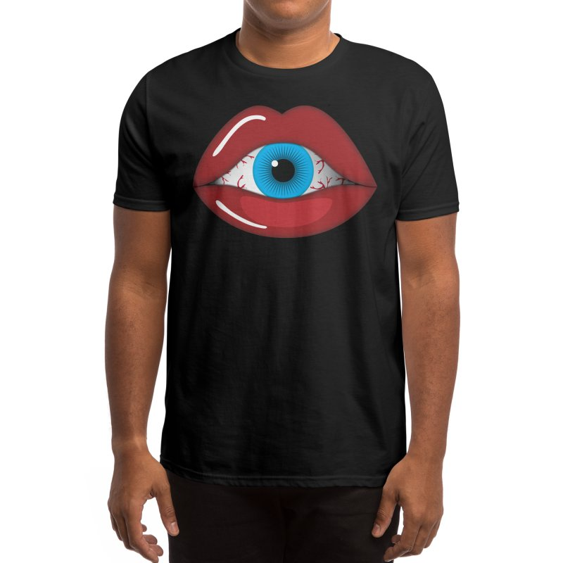 Creepy, Scary Eyeball inside Woman Lips Halloween Horror Men's T-Shirt by Sidewise Clothing & Design