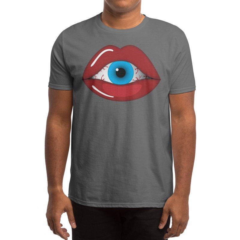 Creepy, Scary Eyeball inside Woman Lips Halloween Horror Men's T-Shirt by Sidewise Clothing & Design
