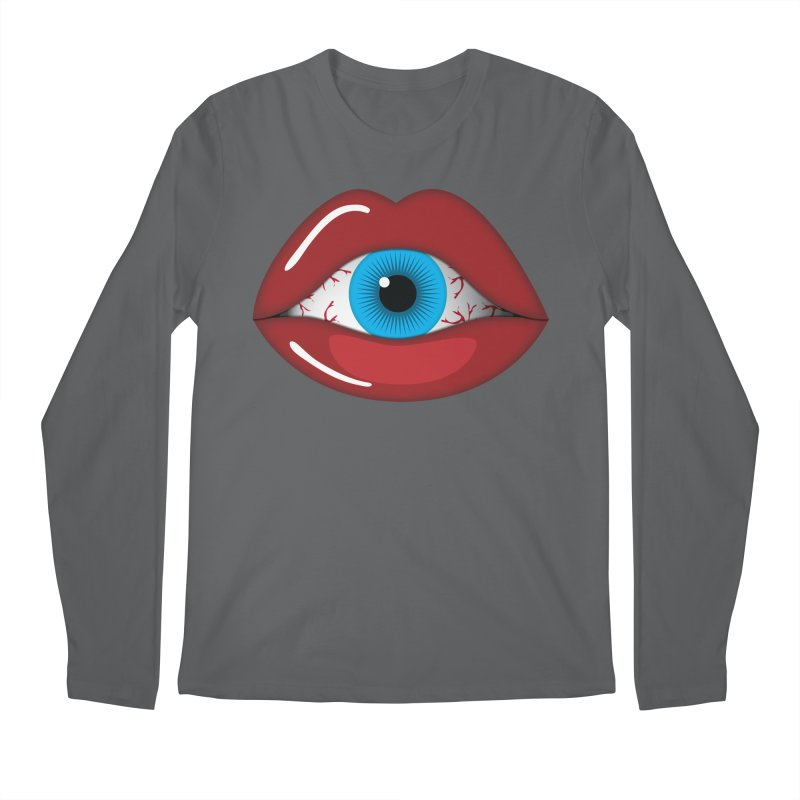 Creepy, Scary Eyeball inside Woman Lips Halloween Horror Men's Longsleeve T-Shirt by Sidewise Clothing & Design