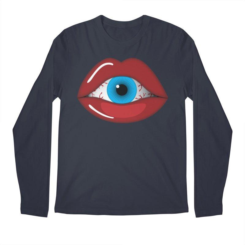 Creepy, Scary Eyeball inside Woman Lips Halloween Horror Men's Regular Longsleeve T-Shirt by Sidewise Clothing & Design