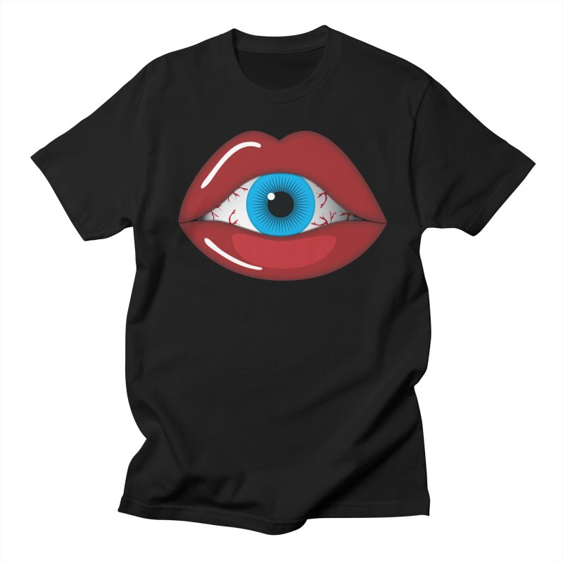 Creepy, Scary Eyeball inside Woman Lips Halloween Horror Women's T-Shirt by Sidewise Clothing & Design