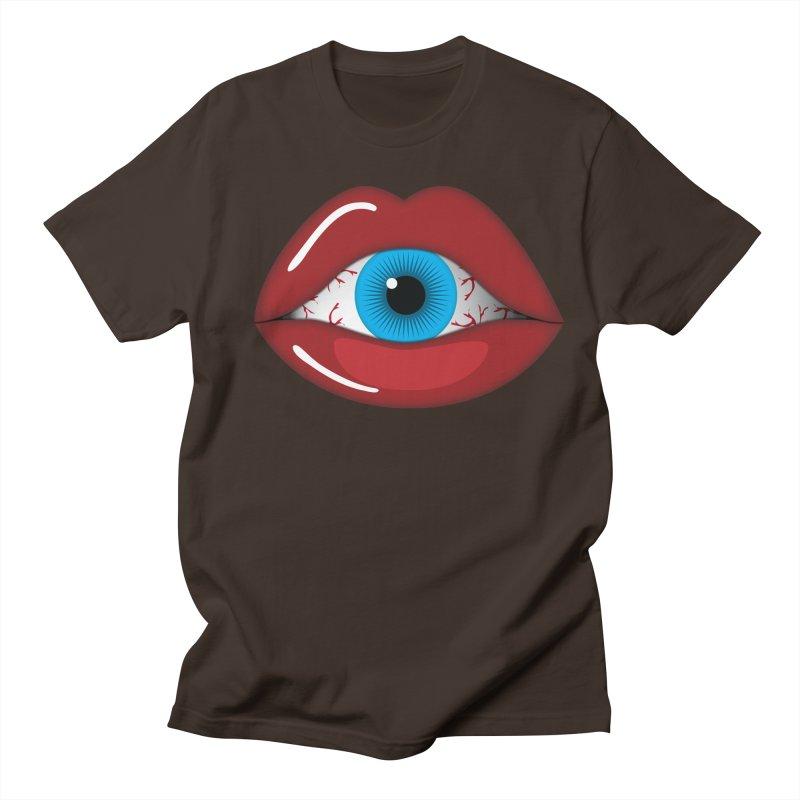 Creepy, Scary Eyeball inside Woman Lips Halloween Horror Men's Regular T-Shirt by Sidewise Clothing & Design