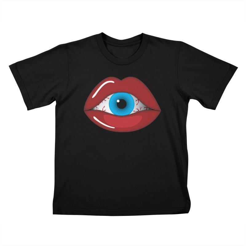Creepy, Scary Eyeball inside Woman Lips Halloween Horror Kids T-Shirt by Sidewise Clothing & Design