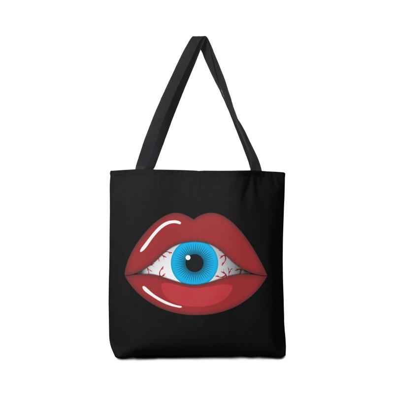 Creepy, Scary Eyeball inside Woman Lips Halloween Horror Accessories Bag by Sidewise Clothing & Design