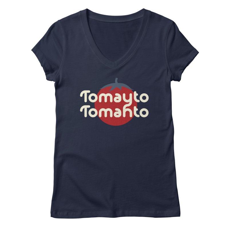 Tomayto Tomahto Women's Regular V-Neck by Sidewise Clothing & Design