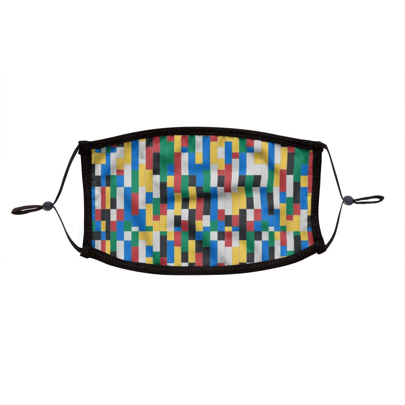 Colorful Building Block Pattern Accessories Face Mask by Sidewise Clothing & Design