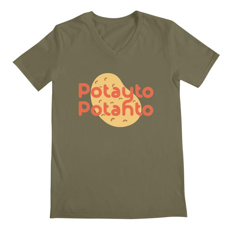 Potayto Potahto Men's Regular V-Neck by Sidewise Clothing & Design