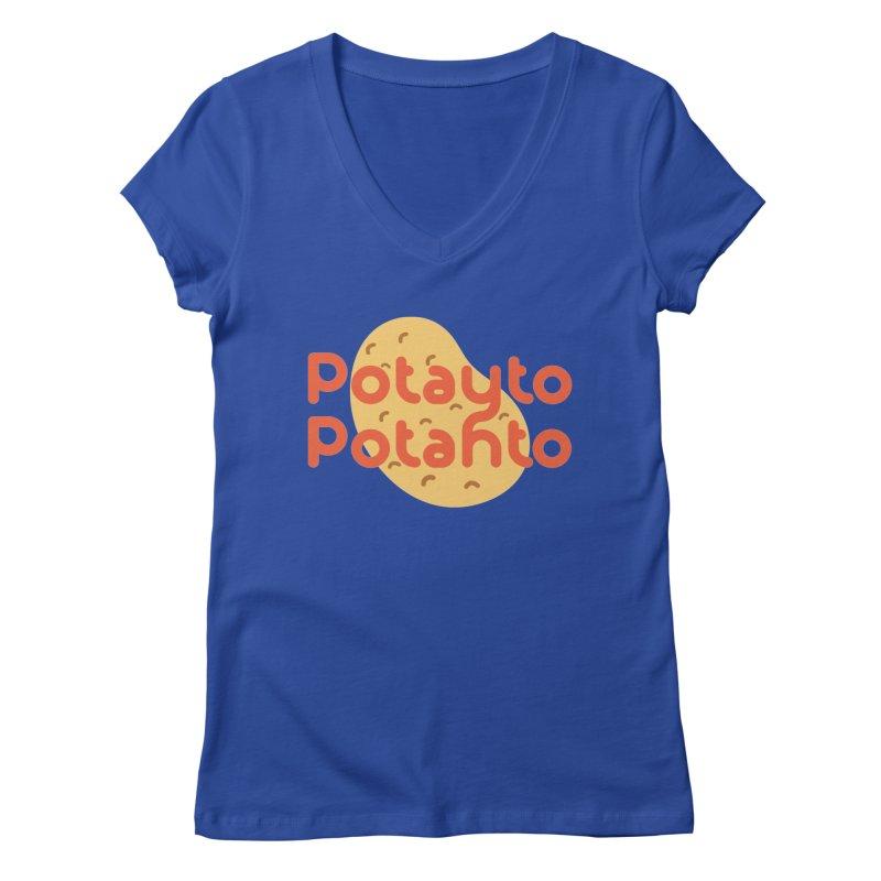 Potayto Potahto Women's Regular V-Neck by Sidewise Clothing & Design