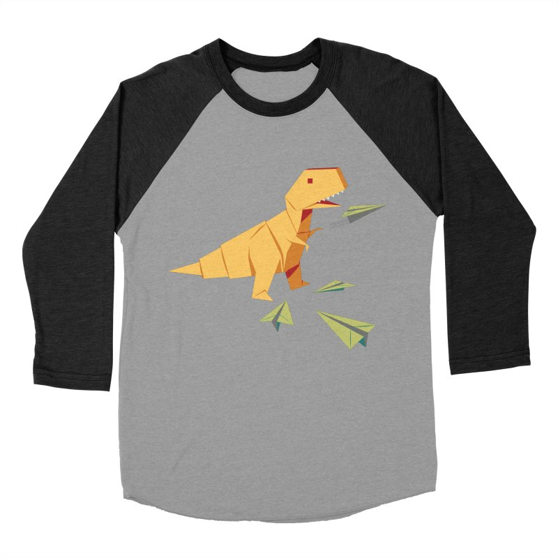 T-rex Dinosaur Origami flying paper planes Women's Baseball Triblend Longsleeve T-Shirt by Sidewise Clothing & Design