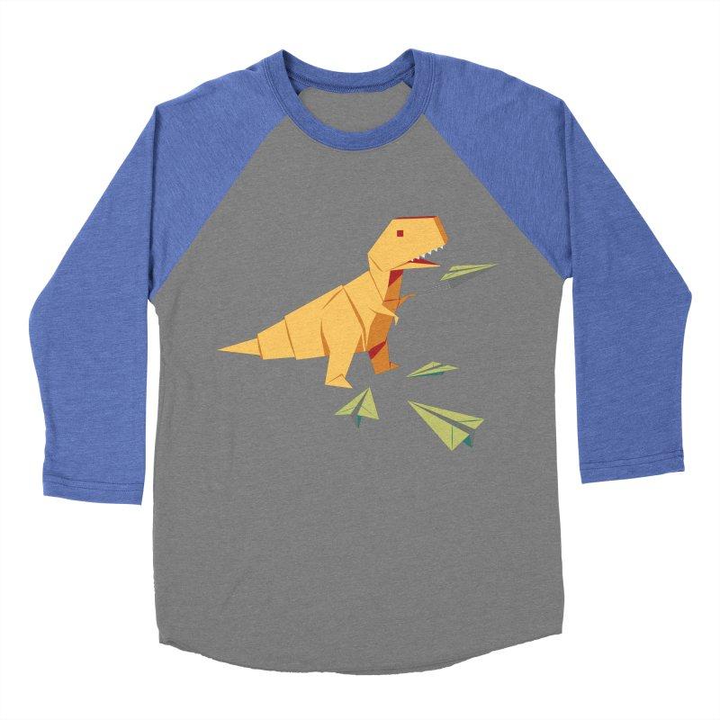 T-rex Dinosaur Origami flying paper planes Men's Baseball Triblend Longsleeve T-Shirt by Sidewise Clothing & Design