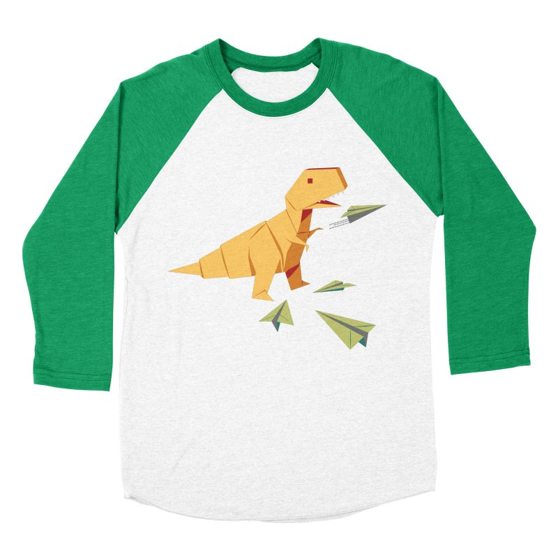 T-rex Dinosaur Origami flying paper planes Men's Baseball Triblend Longsleeve T-Shirt by Sidewise Clothing & Design