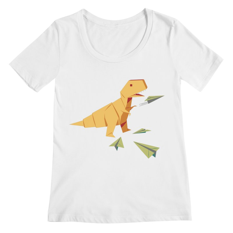 T-rex Dinosaur Origami flying paper planes Women's Regular Scoop Neck by Sidewise Clothing & Design