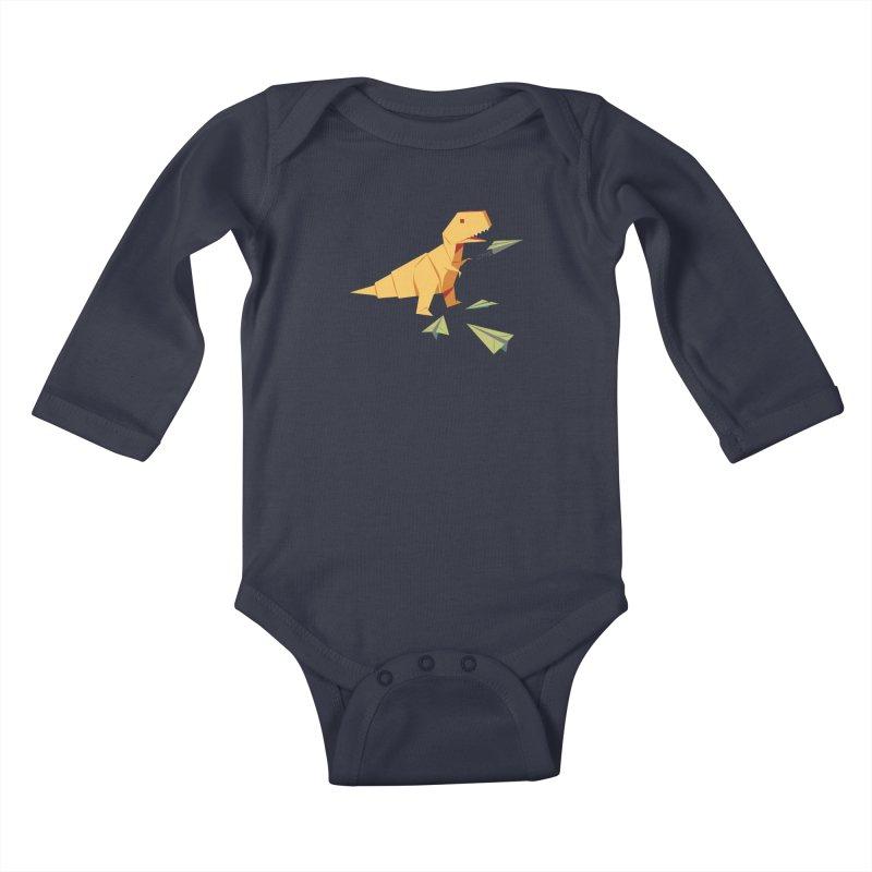 T-rex Dinosaur Origami flying paper planes Kids Baby Longsleeve Bodysuit by Sidewise Clothing & Design