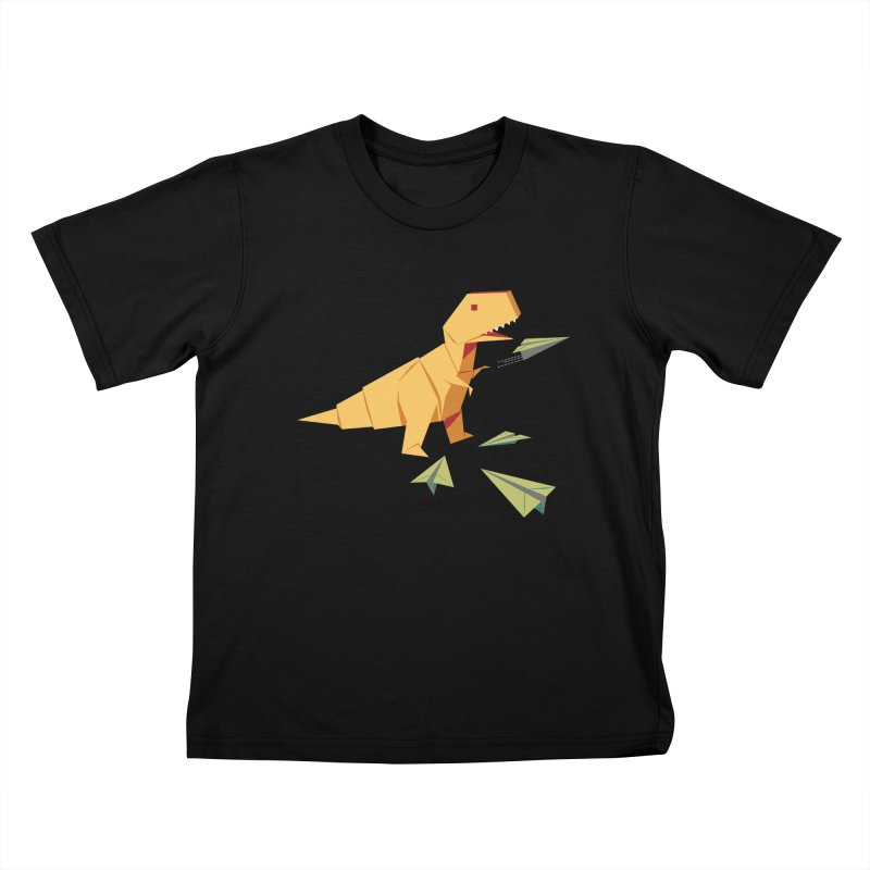 T-rex Dinosaur Origami flying paper planes in Kids T-Shirt Black by Sidewise Clothing & Design
