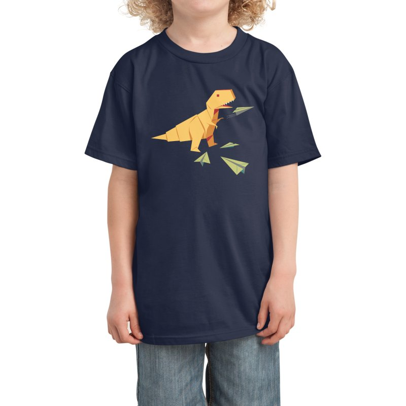 T-rex Dinosaur Origami flying paper planes Kids T-Shirt by Sidewise Clothing & Design