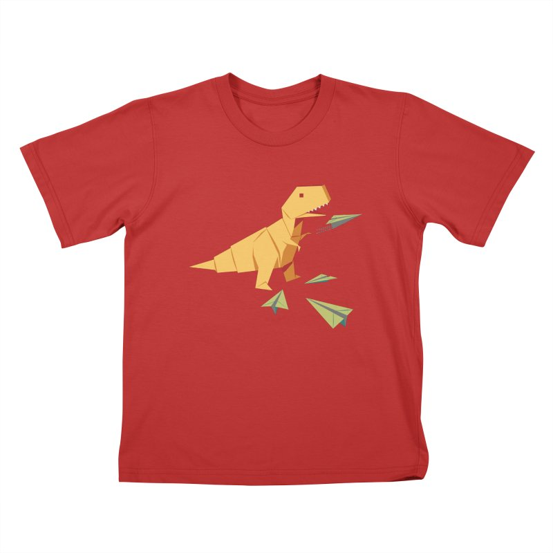 DINORIGAMI in Kids T-Shirt Red by Sidewise Clothing & Design