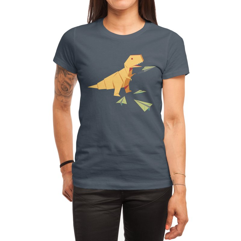 T-rex Dinosaur Origami flying paper planes Women's T-Shirt by Sidewise Clothing & Design
