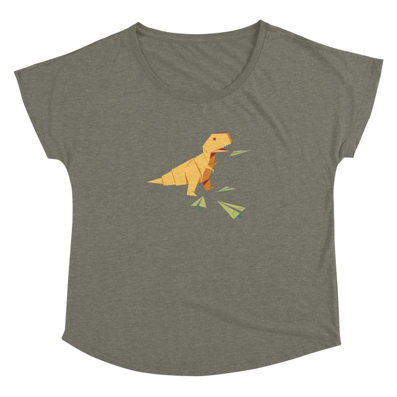 T-rex Dinosaur Origami flying paper planes Women's Dolman Scoop Neck by Sidewise Clothing & Design