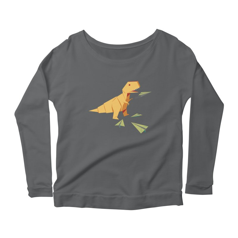 T-rex Dinosaur Origami flying paper planes Women's Scoop Neck Longsleeve T-Shirt by Sidewise Clothing & Design