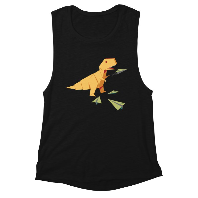 T-rex Dinosaur Origami flying paper planes Women's Tank by Sidewise Clothing & Design