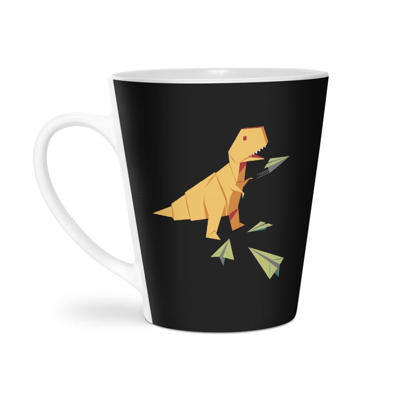 T-rex Dinosaur Origami flying paper planes Accessories Latte Mug by Sidewise Clothing & Design