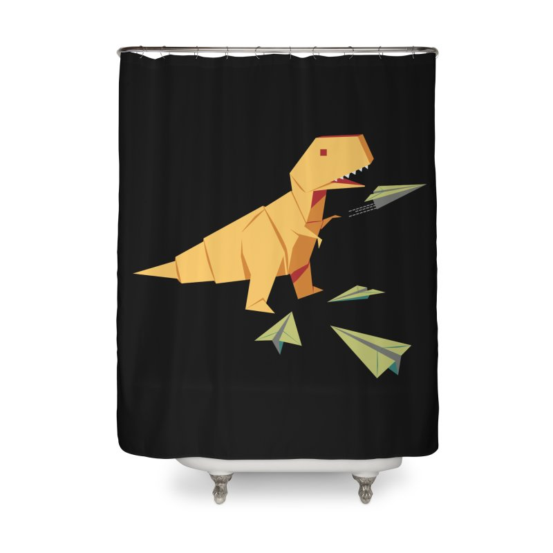 T-rex Dinosaur Origami flying paper planes Home Shower Curtain by Sidewise Clothing & Design