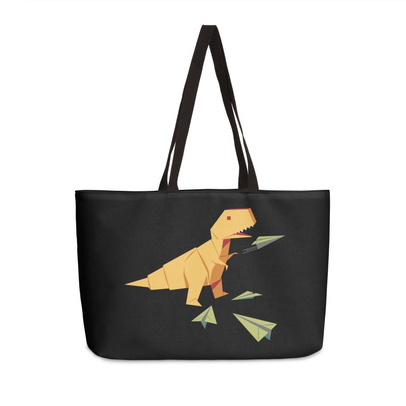 T-rex Dinosaur Origami flying paper planes Accessories Weekender Bag Bag by Sidewise Clothing & Design
