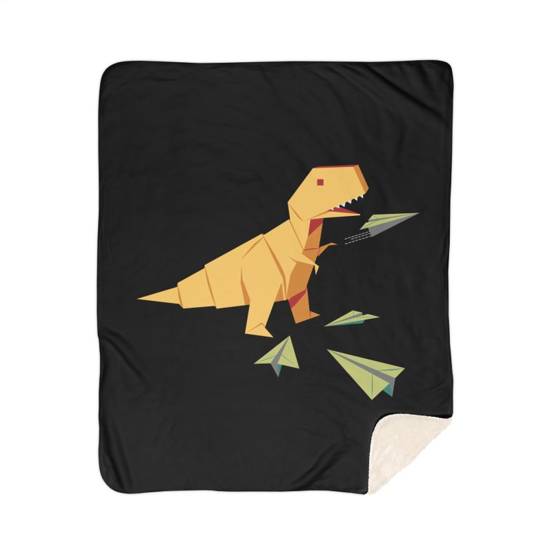 T-rex Dinosaur Origami flying paper planes Home Sherpa Blanket Blanket by Sidewise Clothing & Design
