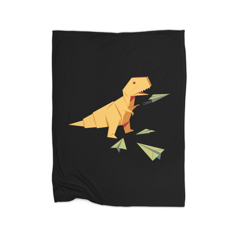 T-rex Dinosaur Origami flying paper planes Home Fleece Blanket Blanket by Sidewise Clothing & Design