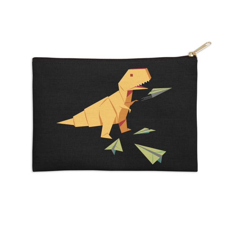 T-rex Dinosaur Origami flying paper planes Accessories Zip Pouch by Sidewise Clothing & Design