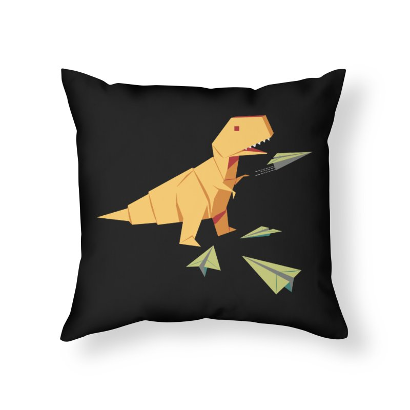 T-rex Dinosaur Origami flying paper planes Home Throw Pillow by Sidewise Clothing & Design