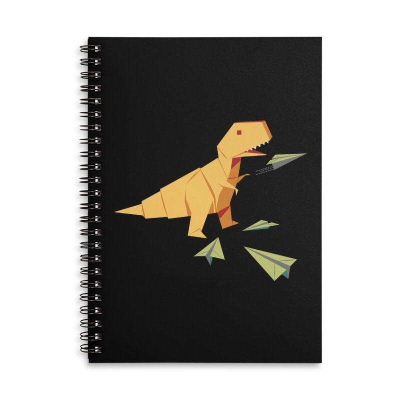 T-rex Dinosaur Origami flying paper planes Accessories Lined Spiral Notebook by Sidewise Clothing & Design