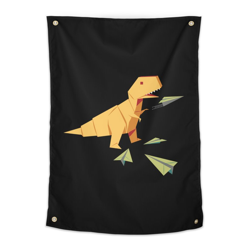 T-rex Dinosaur Origami flying paper planes Home Tapestry by Sidewise Clothing & Design