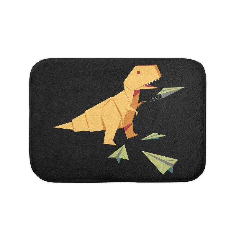 T-rex Dinosaur Origami flying paper planes Home Bath Mat by Sidewise Clothing & Design
