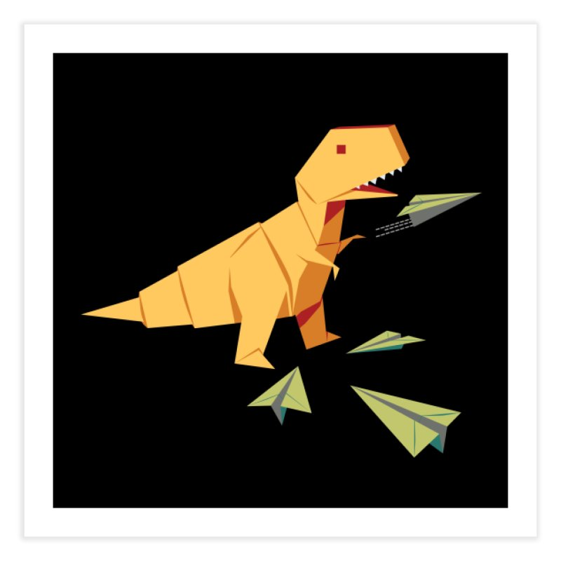 T-rex Dinosaur Origami flying paper planes Home Fine Art Print by Sidewise Clothing & Design