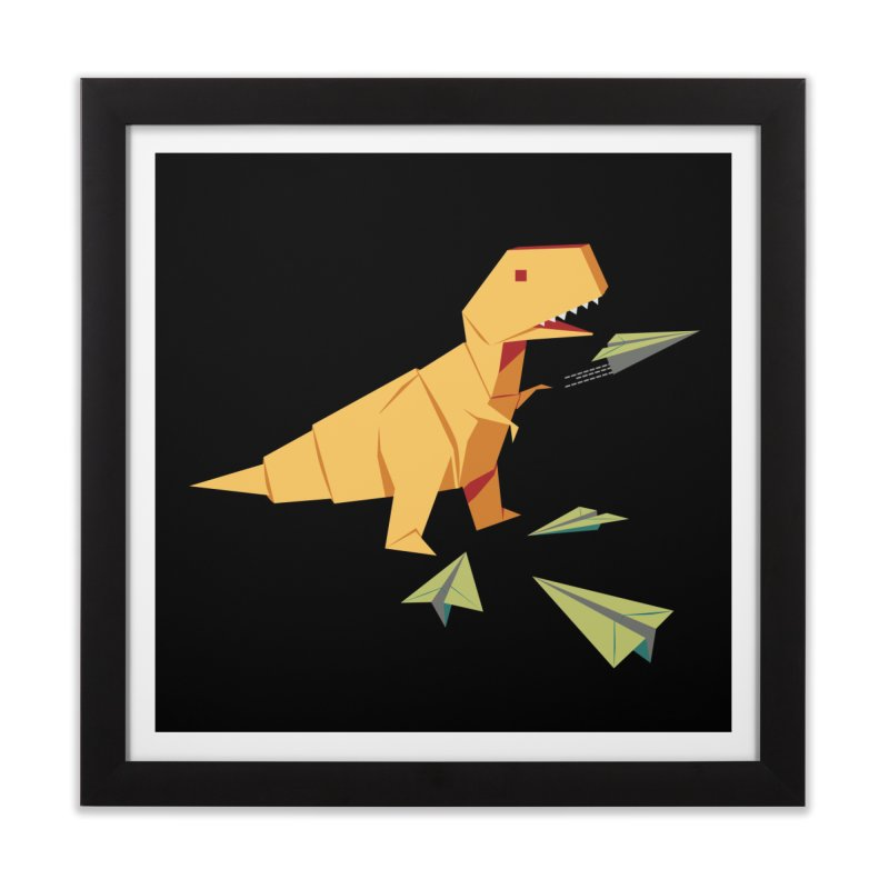 T-rex Dinosaur Origami flying paper planes Home Framed Fine Art Print by Sidewise Clothing & Design